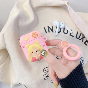 Sailor Moon Style Pink Silicone Protective Shockproof Case For Apple Airpods 1 & 2 - Casememe.com