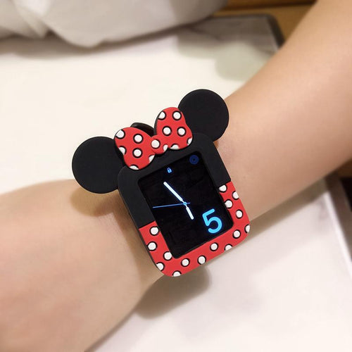 Minnie Mouse Style Polka Dots Silicone Compatible With Apple Watch Silicone Case 38mm 40mm 42mm 44mm For iWatch Series 4/3/2/1