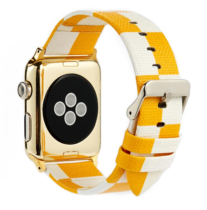 Luxury Style Yellow Damier Leather Compatible With Apple Watch 38mm 40mm 42mm 44mm Band Strap For iWatch Series 4/3/2/1 - Casememe.com