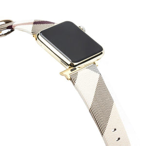 Burberry Style Plaid Leather Compatible With Apple Watch 38mm 40mm 42mm 44mm Band Strap For iWatch Series 4/3/2/1 - Casememe.com
