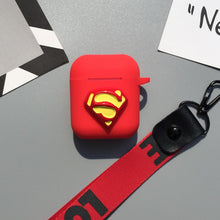 Load image into Gallery viewer, Marvel Captain America Superman Batman Silicone Protective Shockproof Case With Strap For Apple Airpods 1 & 2 - Casememe.com