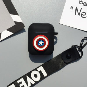 Marvel Captain America Superman Batman Silicone Protective Shockproof Case With Strap For Apple Airpods 1 & 2 - Casememe.com