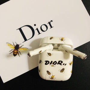 Dior Style Honeybee AirPods Skin Sticker Adhesive Protective Decal For Apple AirPods 1 & 2 - Casememe.com
