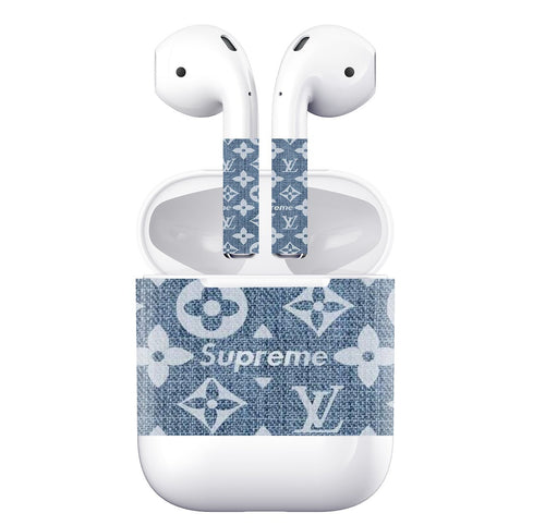 Supreme Luxury Style Jeans AirPods Skin Sticker Adhesive Protective Decal For Apple AirPods 1 & 2 - Casememe.com