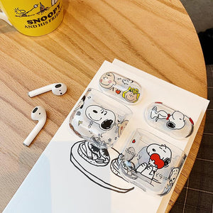 Snoopy Style Clear Hard Protective Case For Apple Airpods 1 & 2 - Casememe.com