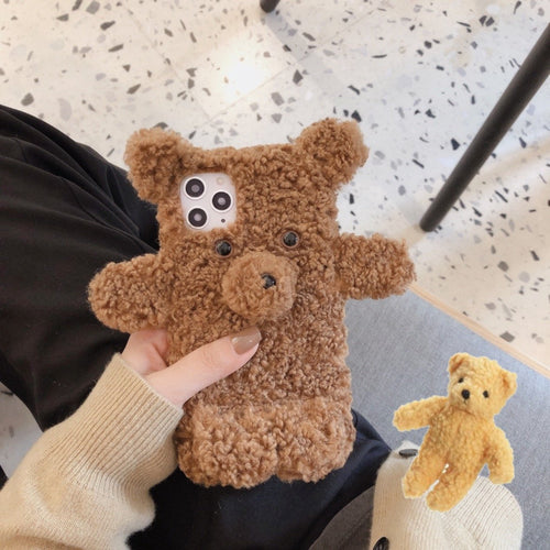 Cute Furry Bear Shockproof Protective Designer iPhone Case For iPhone SE 11 Pro Max X XS Max XR 7 8 Plus - Casememe