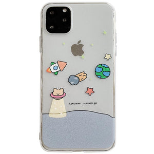 Cute Bear Clear  Silicone Shockproof Protective Designer iPhone Case For iPhone SE 11 Pro Max X XS Max XR 7 8 Plus - Casememe.com