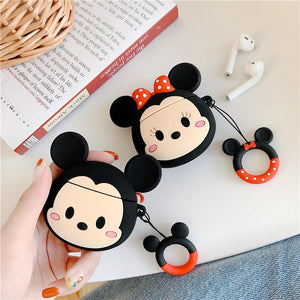 Disney Style Mickey Minnie Mouse Face Silicone Protective Shockproof Case For Apple Airpods 1 & 2 - Casememe.com