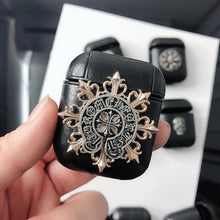 Load image into Gallery viewer, Gothic Chrome Heart Style Skull Wing Black Leather Protective Shockproof Case For Apple Airpods 1 & 2 - Casememe.com