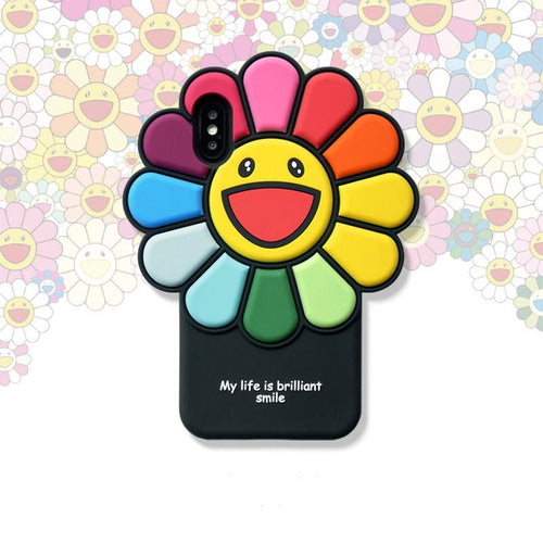 Takashi Murakami Style Flower Silicone Shockproof Protective Designer iPhone Case For iPhone SE 11 Pro Max X XS Max XR 7 8 Plus - Casememe