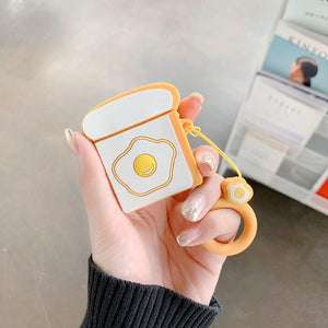 Sunny Up Egg Toast Silicone Protective Shockproof Case For Apple Airpods 1 & 2 - Casememe.com