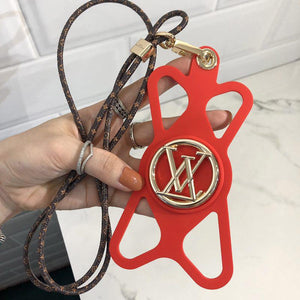 Louis Vuitton Style Louise Phone Holder Strap Monogram Shockproof Protective Designer iPhone Case For iPhone 12 SE 11 Pro Max X XS Max XR 7 8 Plus - Casememe.com