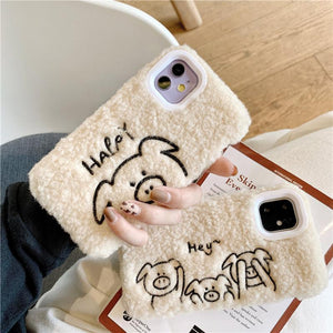 Stitched Piggy Furry Shockproof Protective Designer iPhone Case For iPhone SE 11 Pro Max X XS Max XR 7 8 Plus - Casememe.com