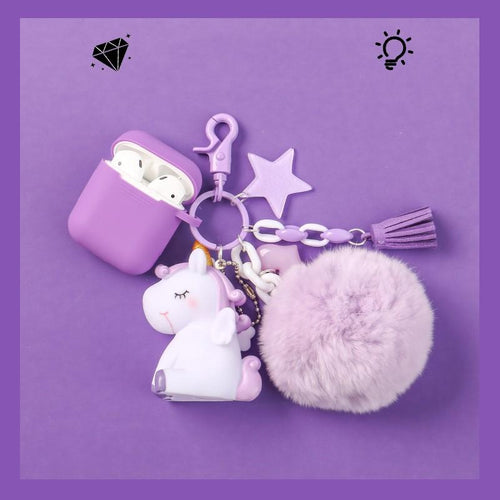 Unicorn Furry Ball Keychain Silicone Protective Case For Apple Airpods Pro - Casememe.com