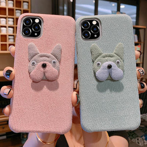 Bulldog Furry Shockproof Protective Designer iPhone Case For iPhone SE 11 Pro Max X XS Max XR 7 8 Plus - Casememe.com