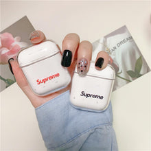 Load image into Gallery viewer, Supreme Style Logo Clear Hard Protective Shockproof Case For Apple Airpods 1 & 2 - Casememe.com