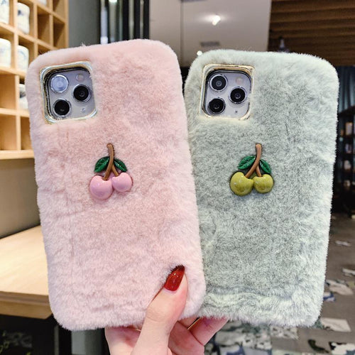 Cherry Furry Shockproof Protective Designer iPhone Case For iPhone SE 11 Pro Max X XS Max XR 7 8 Plus - Casememe.com