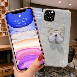 Bulldog Furry Shockproof Protective Designer iPhone Case For iPhone 11 Pro Max X XS Max XR 7 8 Plus - Casememe.com