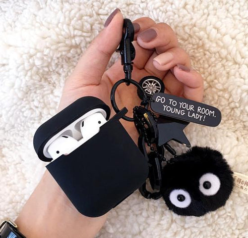 Fairydust Susuwatari Black Furry Toy Silicone Protective Shockproof Case For Apple Airpods 1 & 2 - Casememe.com