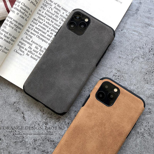 Retro Alcantara Shockproof Protective Designer iPhone Case For iPhone SE 11 Pro Max X XS Max XR 7 8 Plus - Casememe.com