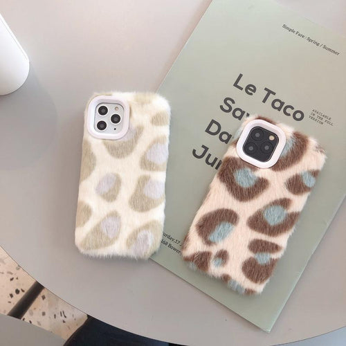 Modern Plush Furry Leopard Shockproof Protective Designer iPhone Case For iPhone SE 11 Pro Max X XS Max XR 7 8 Plus - Casememe.com