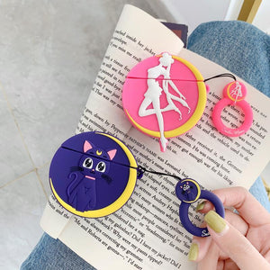 Sailor Moon Style Luna Black Cat Silicone Protective Shockproof Case For Apple Airpods 1 & 2 - Casememe.com