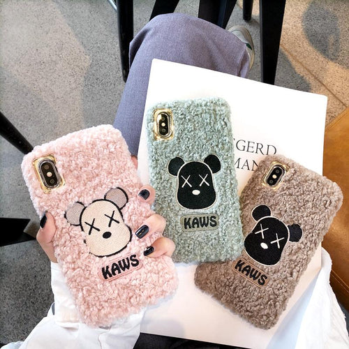 KAWS Style Furry Shockproof Protective Designer iPhone Case For iPhone SE 11 Pro Max X XS Max XR 7 8 Plus - Casememe.com