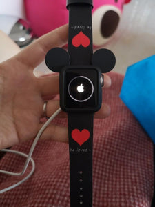 Disney Mickey Mouse Style Silicone Watch Case Compatible With Apple Watch 38mm 40mm 42mm 44mm Leather Heart Band Strap For iWatch Series 4/3/2/1 - Casememe.com
