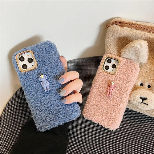 KAWS Style Cute Toy Furry Shockproof Protective Designer iPhone Case For iPhone 11 Pro Max X XS Max XR 7 8 Plus - Casememe.com