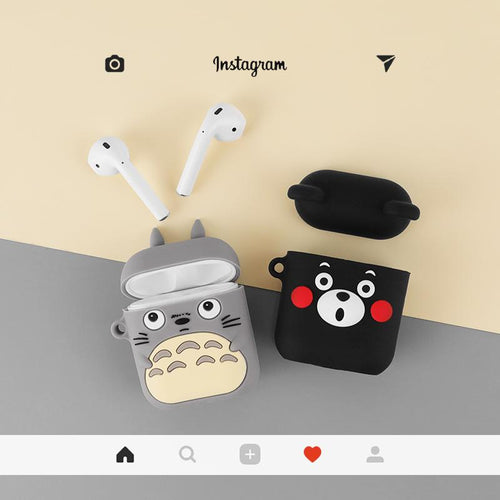 Totoro Black Bear Silicone Protective Shockproof Case For Apple Airpods 1 & 2 - Casememe.com