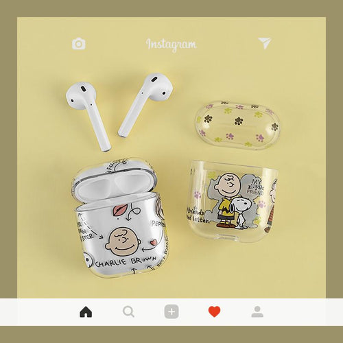 Snoopy Charlie Clear Protective Shockproof Case For Apple Airpods 1 & 2 - Casememe.com