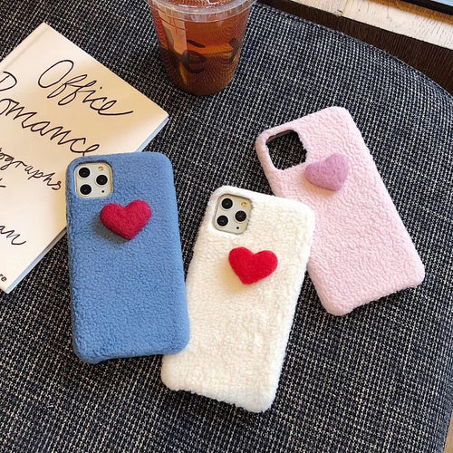 Heart Cute Furry Shockproof Protective Designer iPhone Case For iPhone SE 11 Pro Max X XS Max XR 7 8 Plus - Casememe.com
