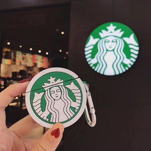 Starbucks Style Round Silicone Protective Case For Apple Airpods 1 & 2 - Casememe.com