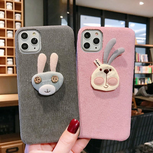 Cute Rabbit Button Eyes Alcantara Shockproof Protective Designer iPhone Case For iPhone SE 11 Pro Max X XS Max XR 7 8 Plus - Casememe.com