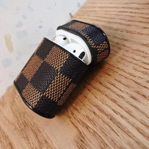 Luxury Style Damier Leather Box Protective Shockproof Case For Apple Airpods 1 & 2 - Casememe.com