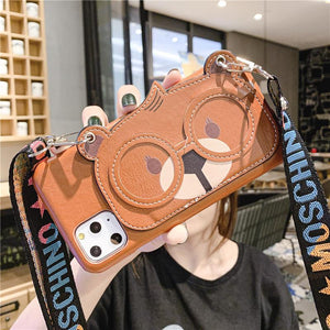 Cute Cartoon Animal Hand Strap Cardholder Wallet Leather Shockproof Protective Designer iPhone Case For iPhone SE 11 Pro Max X XS Max XR 7 8 Plus - Casememe.com