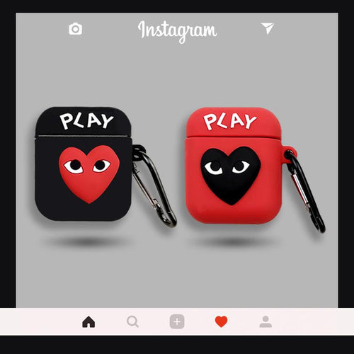 Comme Des Garcons PLAY Style Silicone Protective Case For Apple Airpods 1 & 2 - Casememe.com