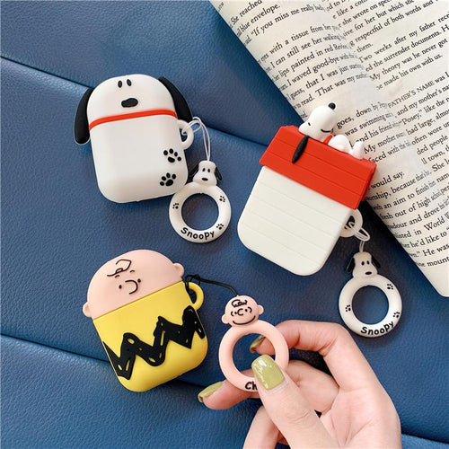 Snoopy Style Charles Silicone Protective Shockproof Case For Apple Airpods 1 & 2