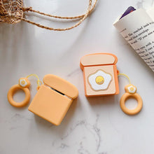 Load image into Gallery viewer, Sunny Up Egg Toast Silicone Protective Shockproof Case For Apple Airpods 1 & 2 - Casememe.com