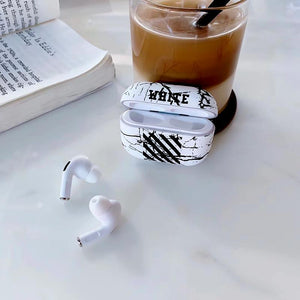 Off White Style Marble Hard Protective Case For Apple Airpods Pro - Casememe.com