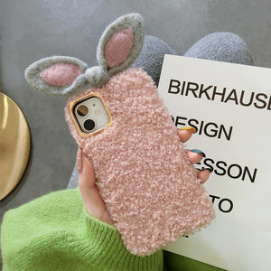 Cute Rabbit Ears Furry Shockproof Protective Designer iPhone Case For iPhone SE 11 Pro Max X XS Max XR 7 8 Plus - Casememe.com