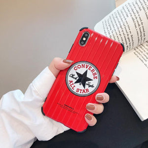 Converse Style Glossy Bumper Protection Designer iPhone Case For iPhone X XS XS Max XR 7 8 Plus - Casememe.com