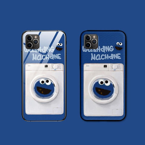 Sesame Street Style Tempered Glass Pop Socket Protective Designer iPhone Case For iPhone SE 11 Pro Max X XS Max XR 7 8 Plus - Casememe