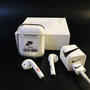 Nike x Off White OW Style Clear Hard Protective Shockproof Case For Apple Airpods 1 & 2 - Casememe.com