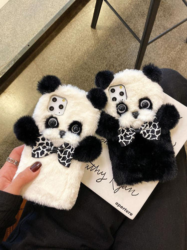 Cute Furry 3D Panda Shockproof Protective Designer iPhone Case For iPhone SE 11 Pro Max X XS Max XR 7 8 Plus - Casememe.com