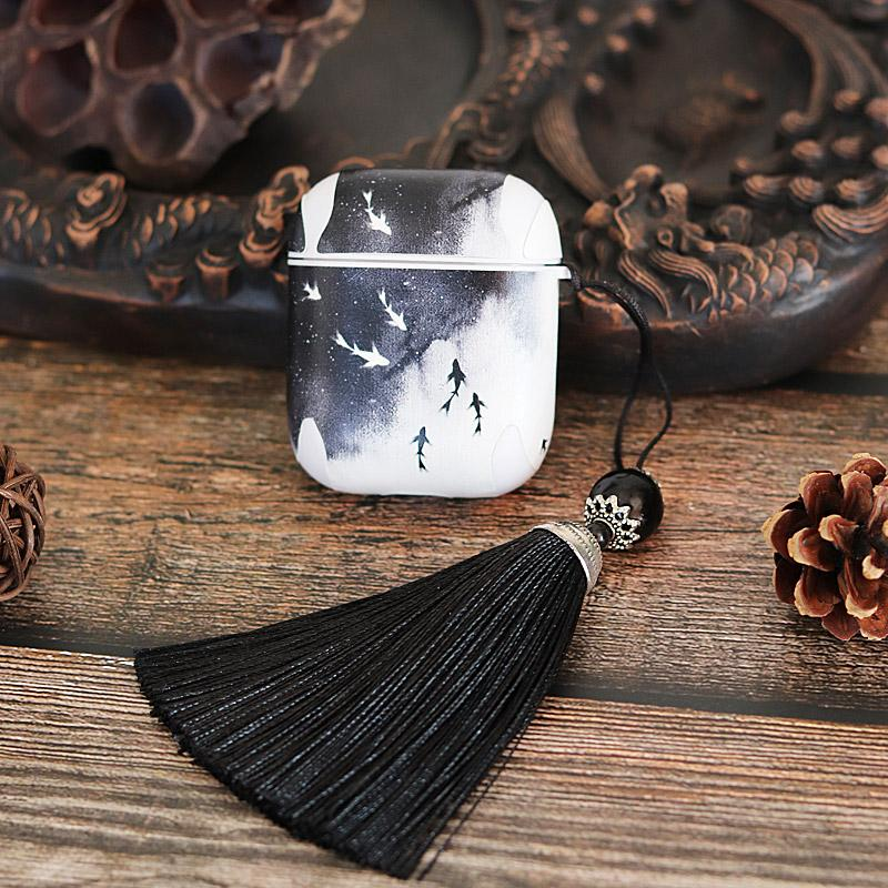 Smoky Sky Tassel Hard Silicone Protective Shockproof Case For Apple Airpods 1 & 2 - Casememe.com