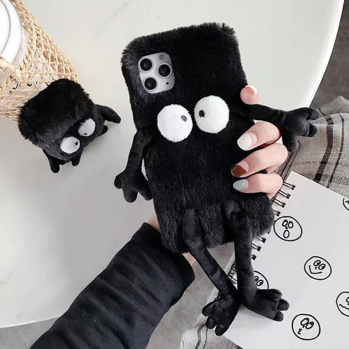 Fairydust Susuwatari Black Furry Shockproof Protective Designer iPhone Case For iPhone 11 Pro Max X XS Max XR 7 8 Plus - Casememe.com