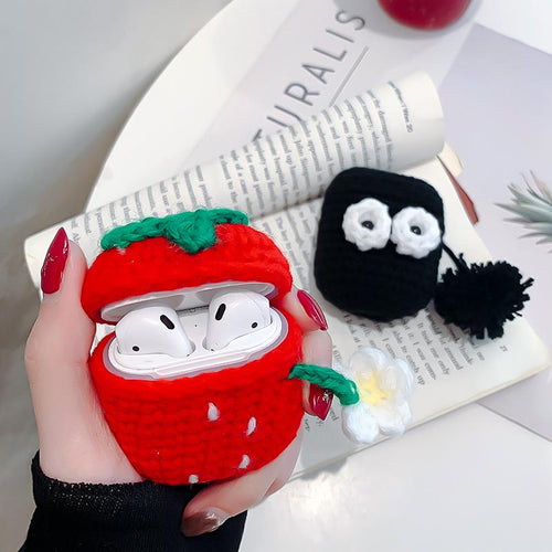 Cute Strawberry Knit Protective Case For Apple Airpods 1 & 2 - Casememe.com