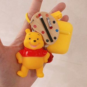 Winnie The Pooh Painter Silicone Protective Shockproof Case For Apple Airpods 1 & 2 - Casememe.com
