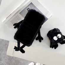 Load image into Gallery viewer, Fairydust Susuwatari Black Furry Shockproof Protective Designer iPhone Case For iPhone SE 11 Pro Max X XS Max XR 7 8 Plus - Casememe.com